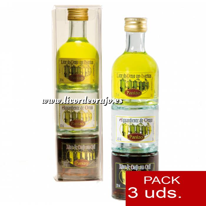 Imagen 2 Licor, Orujo y Cremas Triple Orujo de hierbas, Aguardiente de Orujo y Cafe Panizo 5cl