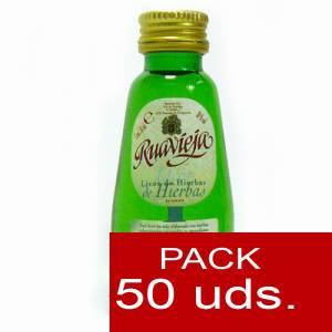 2 Licores, orujos y crema - Orujo de hierbas Ruavieja 5cl CAJA DE 50 UDS